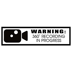 360 Degree Recording In Progress Warning Static Cling