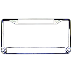 Metal license plate frame with chrome finish