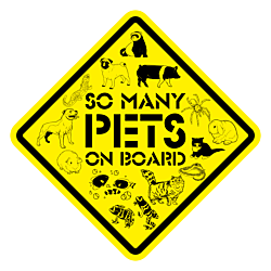 So Many Pets On Board Diamond Shaped Car Magnet