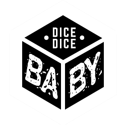 """Customizable black and white """"Dice Dice Baby"""" hexagon sticker in the shape of a classic 6-sided die."""