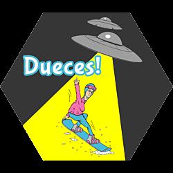 Alien Snowboard Hexagon Sticker