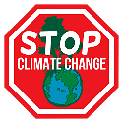 Climate Change Octagon Stickers