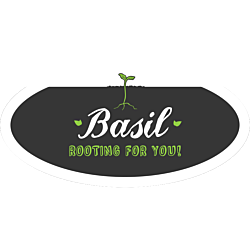 Customizable oval sticker with green sprout graphic and text: Basil Rooting for You
