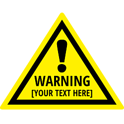 Customizable Yellow Warning Label Triangle Sticker with exclamation mark
