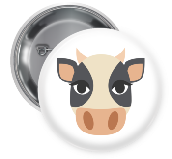 Cow Face Pin Backed Button