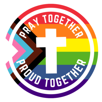 """LGBTQ Pride Flag (2018 Progress Version) with Christian Cross reads """"Pray Together Proud Together"""""""