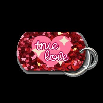 Valentine's Day Glitter Hearts True Love Key Chain - front