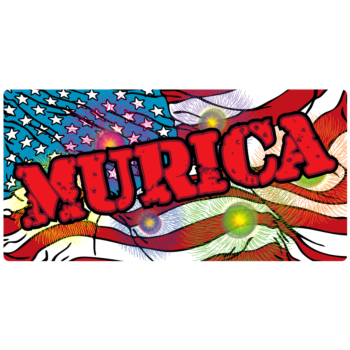Land of the Free Murica Rectangle Vinyl Decal
