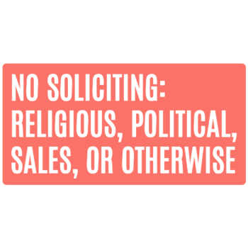 No Soliciting Rectangle Door Static Cling