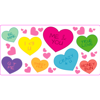 Sweethearts Conversation Hearts Valentines Rectangle Static Cling Window Decoration