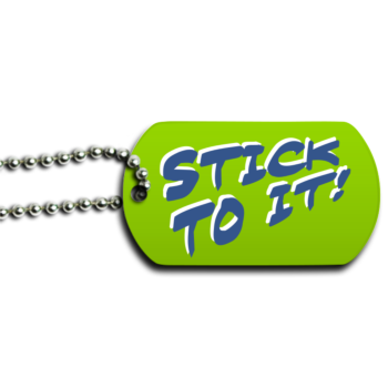 Stick To It New Year's Resolution Motivational Dog Tag - Front