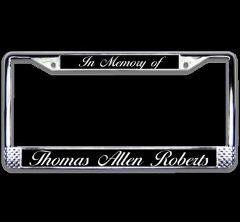 In Memory Chrome License Plate Frame