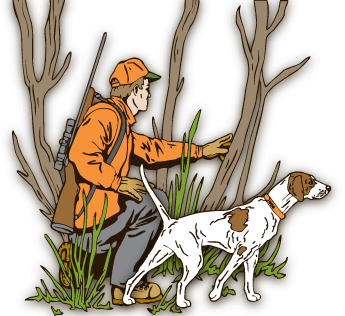 graphic of a hunter with his dog