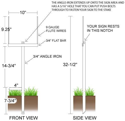Heavy Duty Yard Sign Stake dimensions